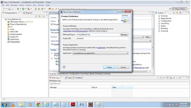 Product definition in creating an Eclipse RCP Application