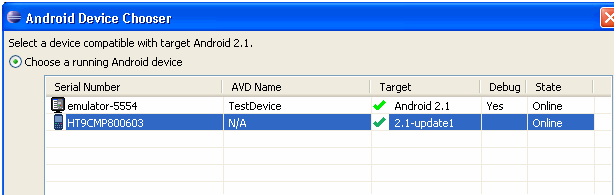 Android Device Chooser