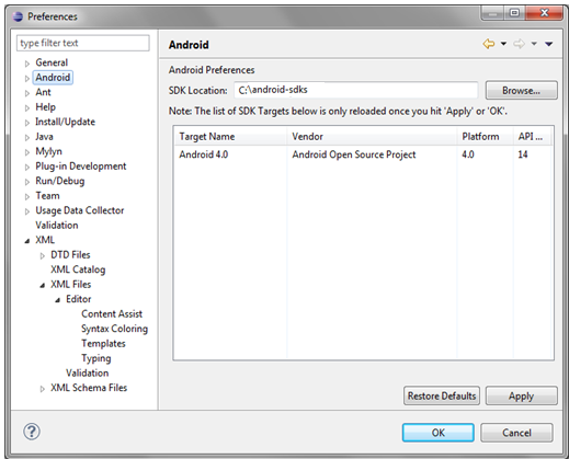 Configure Android Preference