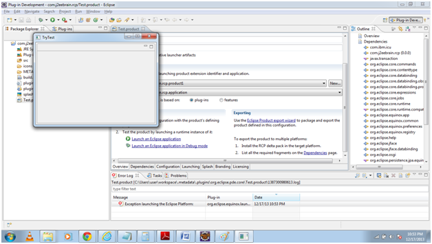 Launch an Eclipse RCP Application